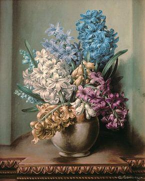Jacinthes dans un vase en poterie sur Albert Williams