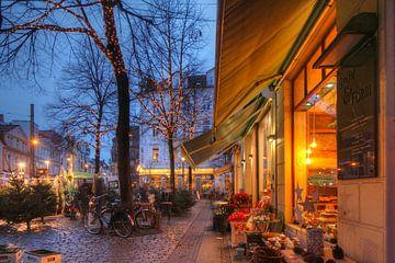 Etalage, kerstverlichting, schemering, Ostertorviertel, wijk, Bremen, Duitsland van Torsten Krüger