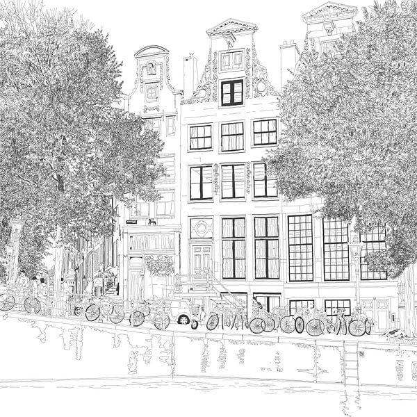 Pen Tekening Herengracht 392 Amsterdam Vierkant van Hendrik-Jan Kornelis