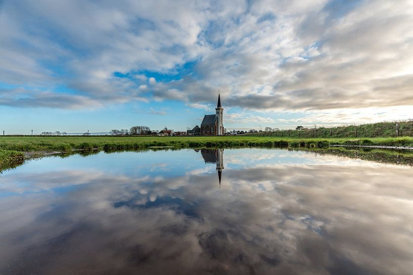 Texel Den Hoorn effet miroir diurne dû à la colonne d'eau sur Texel360Fotografie Richard Heerschap