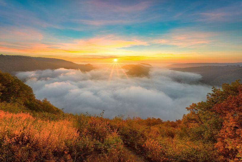 Saarschleife im Nebel von Michael Valjak