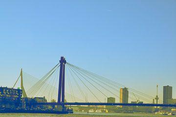 Rotterdam - Willemsbrug en omgeving - in blauw/oker tinten van Ineke Duijzer