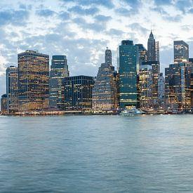 Panoramic view of Brooklyn bridge and downtown Manhattan, New York van Carlos Charlez