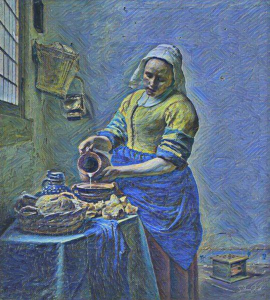 Het Melkmeisje van Johannes Vermeer door de ogen van Vincent van Gogh van Slimme Kunst.nl
