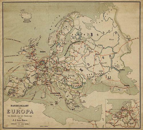 Handelskaart van Europa  van Rebel Ontwerp