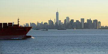 Manhattan skyline in de ochtend gezien vanaf Staten Island, panorama van