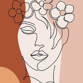 Abstracte Een Lijntekening Gezicht Vrouw Met Bloemen van Diana van Tankeren