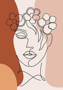 Abstrakte Ein-Linien-Zeichnung Gesicht Frau mit Blumen