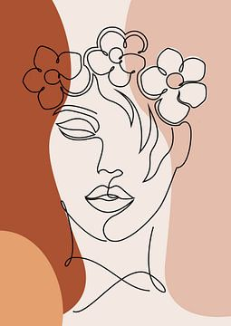 Abstrakte Ein-Linien-Zeichnung Gesicht Frau mit Blumen von Diana van Tankeren