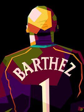 Fabien Barthez in popart van miru arts