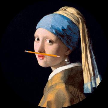 Meisje met de Parel met potlood onder de neus van Maarten Knops