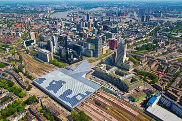 Luchtfoto centrum Rotterdam en Centraal Station von Anton de Zeeuw