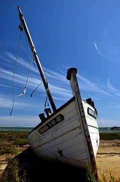 Schipbreuk, oude vissersboot in de Algarve, Portugal. van Iris Heuer