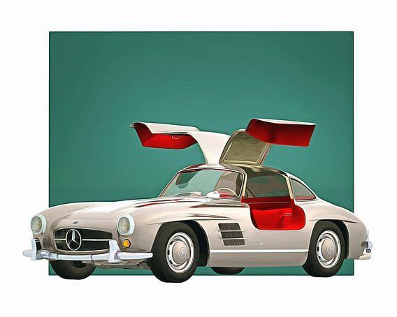 Klassieke auto – Oldtimer Mercedes 300SL Gullwings open 1964