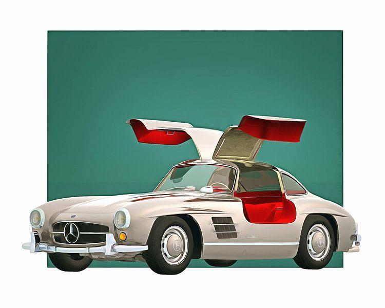 Klassieke auto – Oldtimer Mercedes 300SL Gullwings open 1964 van Jan Keteleer