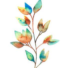 Kleurrijke Bladeren in Aquarel | Schilderij van WatercolorWall