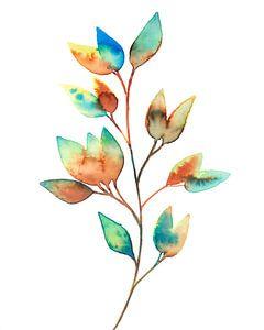 Kleurrijke Bladeren in Aquarel   Schilderij van WatercolorWall