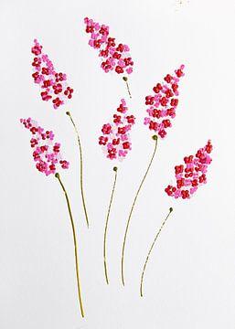 Blumen Eleganz Rot-Rosa von Bianca ter Riet