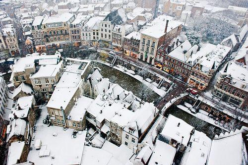 De Utrechtse Oudegracht in de sneeuw von Chris Heijmans