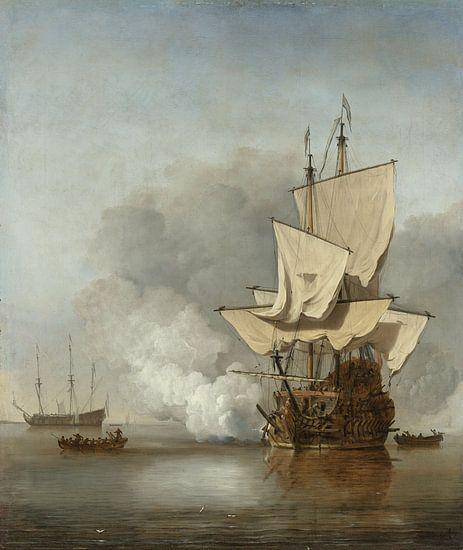 VOC Schilderij: Het kanonschot, Willem van de Velde (II), ca. 1680  van Schilderijen Nu