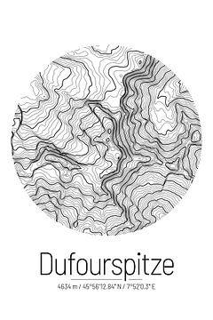 Dufourspitze | Landkarte Topografie (Minimal) von ViaMapia