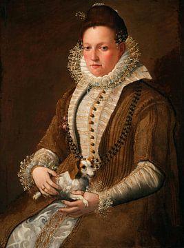 Porträt einer Dame mit einem Hund, Lavinia Fontana