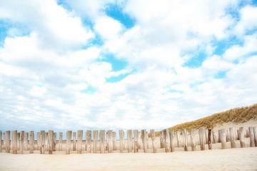 Palen op het strand van Domburg. van Ron van der Stappen