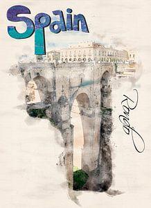 Stilisiertes Poster im Aquarell-Stil.