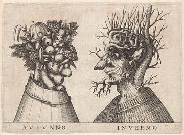 Herbst und Winter, dargestellt von grotesken Köpfen.