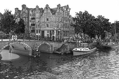 Pentekening Brouwersgracht Prinsengracht Jordaan Amsterdam Nederland Goud Tekening Lijntekening Zwar