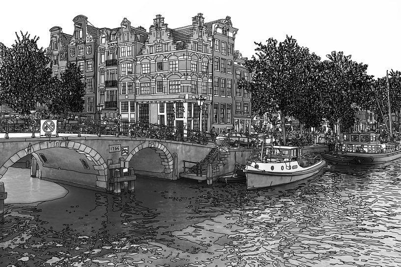 Pentekening Brouwersgracht Prinsengracht Jordaan Amsterdam Nederland Goud Tekening Lijntekening Zwar van Hendrik-Jan Kornelis