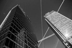 Rembrandttoren Amsterdam zwart-wit