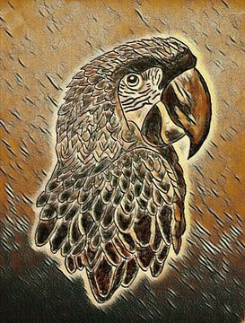 Tekening papegaai in picasso stijl. van Jose Lok