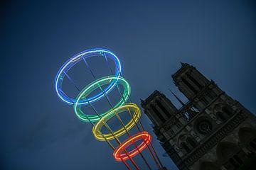 cercles de couleur à la fête de notre dame à paris sur Eric van Nieuwland
