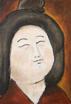 Een portret van een Chinese dikke dame 'Fat ladies' IX van Linda Dammann
