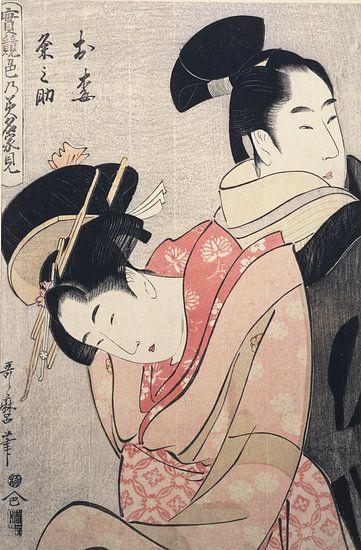 Kitagawa, Utamaro, Oume en Kumenosuke, Japanse prent van Liszt Collection