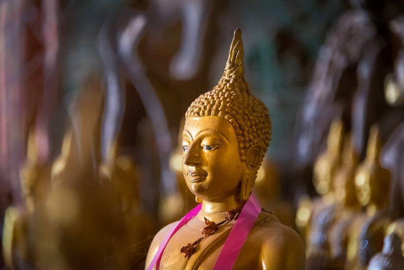 Gouden Boedhabeeldje in de Pak Ou grot, Laos van Rietje Bulthuis