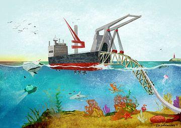 Großes Schiff auf dem Ozean von Ilse Schrauwers, isontwerp.nl