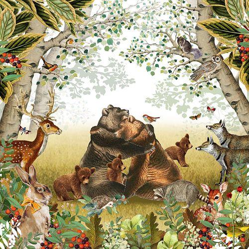 Bos in retro sfeer met hert, beren familie en vosjes