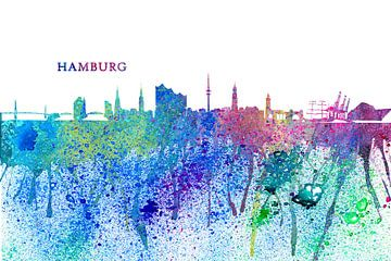 Hamburg Germany Skyline Silhouette Impressionistic Splash van Markus Bleichner