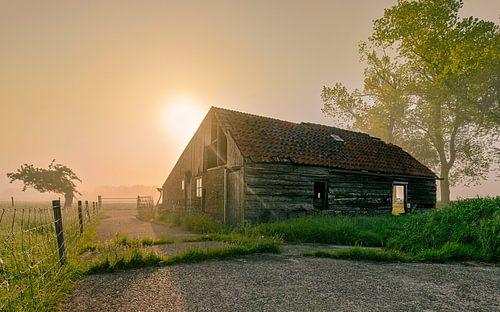 Vervallen schuur op een ochtend met mist in Noord-Holland