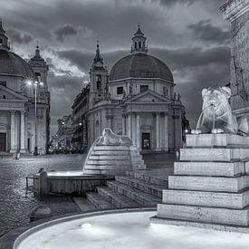 Piazza del Popolo in zwart-wit in Rome van Bas Meelker