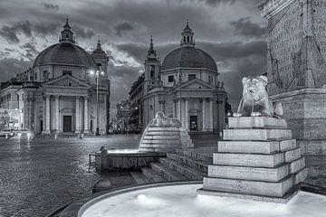 Piazza del Popolo en noir et blanc à Rome sur Bas Meelker