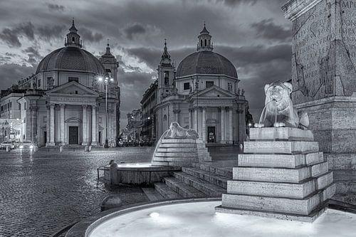 Piazza del Popolo in zwart-wit in Rome