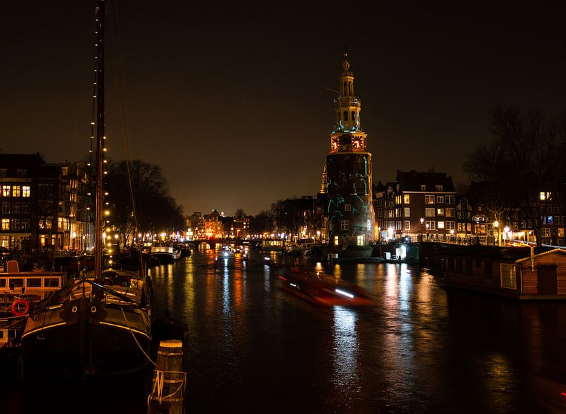 Amsterdamse gracht bij nacht van Charlotte Dirkse