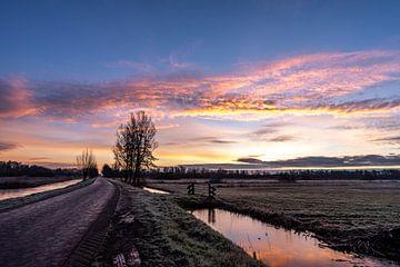 Photo de paysage au lever du soleil avec de belles couleurs douces rose, orange et jaune dans le par sur Dafne Vos