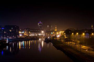 Skyline von Hasselt bei Nacht von Johan Vanbockryck