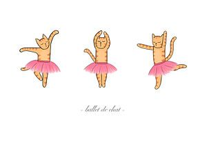 Katten ballet - ballet de chat - digitale illustratie van