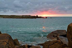 Landrellec sunset, Cote de granit rose