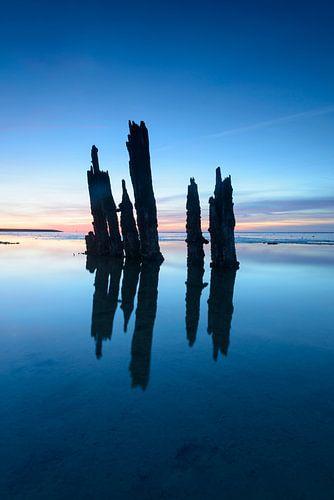 Oude landwinningspalen in de Waddenzee tijdens zonsondergang